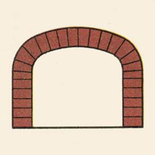 <p><b>Прямолинейная</b><p> Ее формируют из сточенных у основания на клин кирпичей. Используется при строительстве редко.