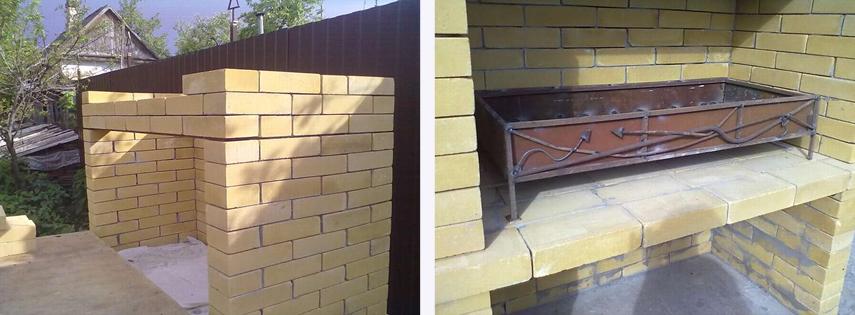 Установка жаровни для уличного мангал-камина