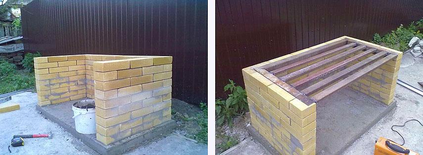 Возведение стен для уличного мангал-камина