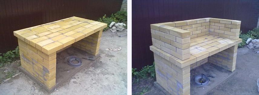 Выкладывание стен для уличного мангал-камина