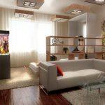 Дизайн разделенных гостиной и спальни