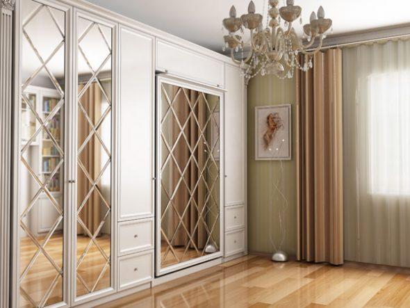 Дизайн гостиной спальни с подъемной кроватью с зеркалом
