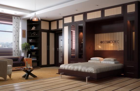 Дизайн гостиной спальни с подъемной кроватью