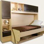 Кровать-стол трансформер коричневого цвета