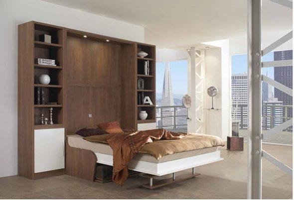 Откидная кровать встроенная в шкаф с диваном «Валерия 2»