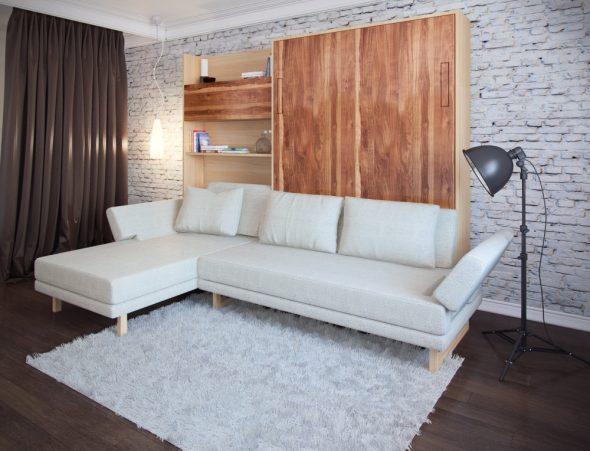 Подъемная кожаная кровать-диван
