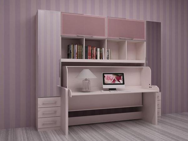Розовая подъемная кровать-стол