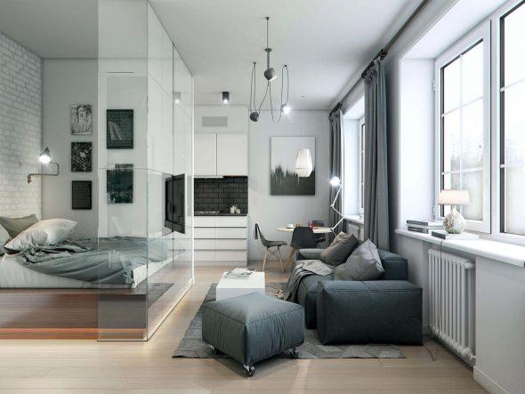 Спальня вместе с гостиной