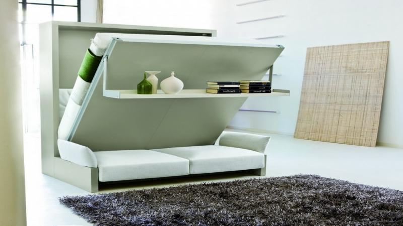 """Кровать-диван с полочкой в светлом интерьере."""" - карточка по."""