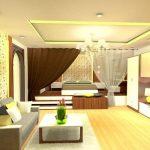 Варианты зонирования спальни гостиной
