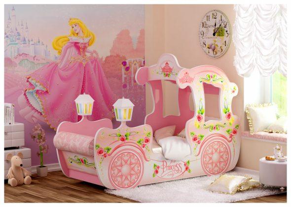 кровать с бортиком для девочек