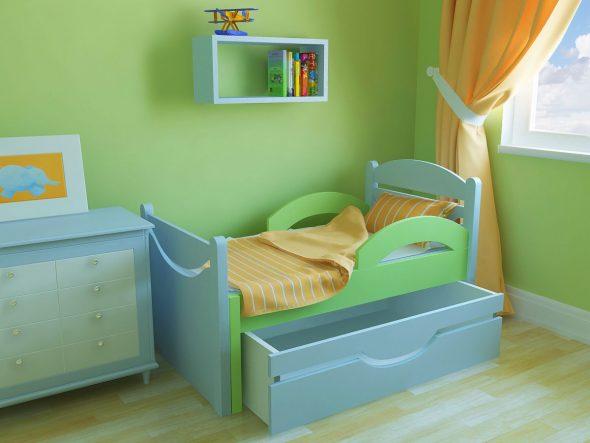 кроватка с бортиками в детскую