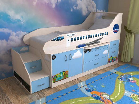 Кровать-самолет для мальчиков