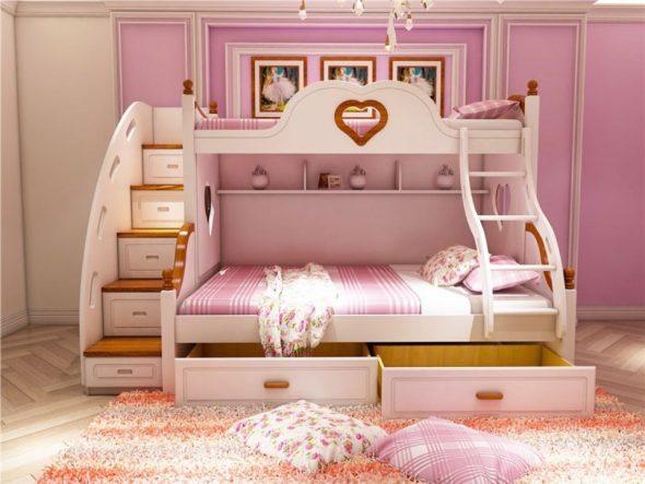 двухэтажная кровать для девочек