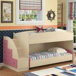 бело-розовая двухъярусная кровать