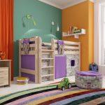 сиреневая кровать для двоих детей
