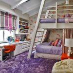 двухъярусная кровать большая сиреневая