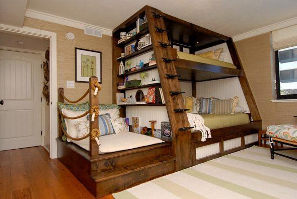 двухъярусная кровать дерево большая