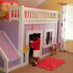 кровать домик для девочки сиреневый