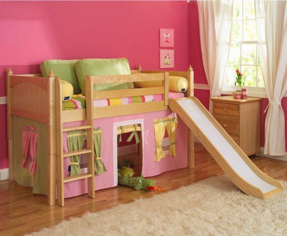 двухъярусная кровать с горкой для девочки