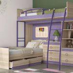 необычный дизайн двухэтажной кровати в детскую