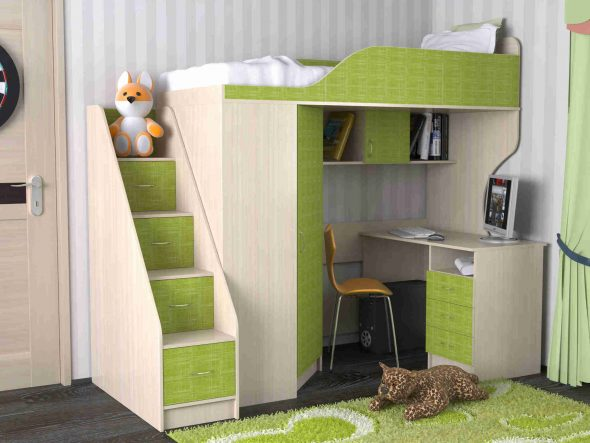 двухъярусная кровать стол шкаф