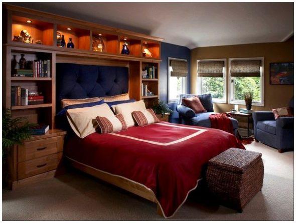 Фото яркого дизайна полок в спальне