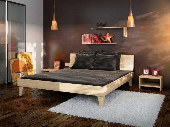 Экономия пространства за счет полки над кроватью