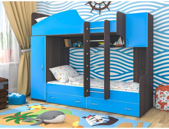 двухъярусная кровать с бортиками в морском стиле