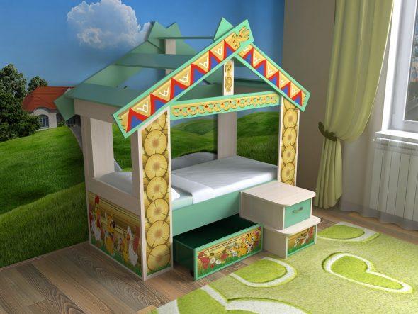 детская кроватка избушка