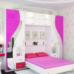 Кровать откидная в детской для девочки