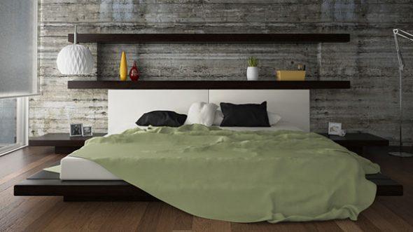 Кровать с полками на стене