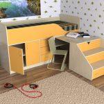 оранжевая двухуровневая кровать