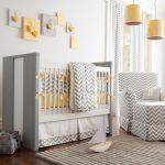 кроватка детская серо белая