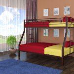 кровать на 2 уровня из металла в детскую