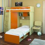 оранжевая кровать в детской