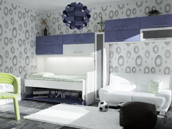 откидная горизонтальная кровать стол в интерьере детской