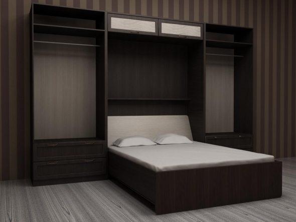 подъемная кровать в маленькой комнате