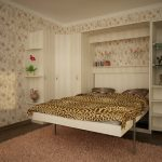 подъемная кровать в цветочной комнате
