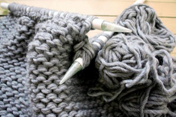пуф вязание платочная вязка