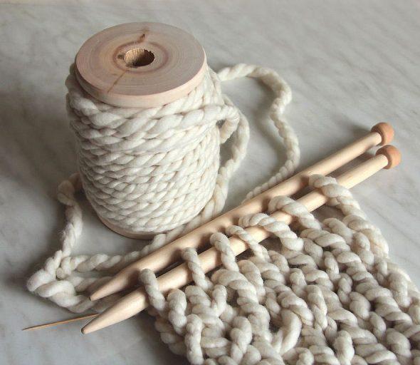 пуф вязание спицы пряжа