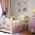 Раздвижная кровать паровоз для девочки