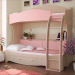 розовая кровать для двух девочек