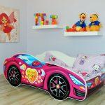 малиновая кровать машинка для девочки