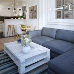серый диван уголок в гостиной