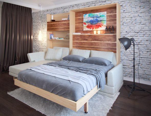 стильная спальня с кроватью-трансформером