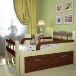 Стильная раздвижная кровать для ребенка в интерьере