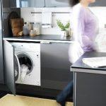 стиральная машина в серо стальном гарнитуре