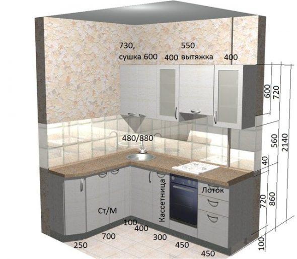высота подвеса шкафов на кухне