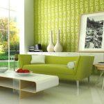 зеленый интерьер диван